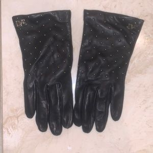 DVF Studded Leather Texting Gloves